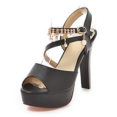 สำหรับผู้หญิง รองเท้าแตะ ส้นหนา ที่สวมนิ้วเท้า PU คลาสสิก / minimalism ฤดูร้อน สีดำ / ขาว / สีชมพู / พรรคและเย็น / พรรคและเย็น