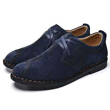 สำหรับผู้ชาย รองเท้าสบาย ๆ หนังนิ่ม ฤดูใบไม้ผลิ ไม่เป็นทางการ รองเท้า Oxfords ระบายอากาศ น้ำเงินเข้ม / สีเทาเข้ม / สีกากี
