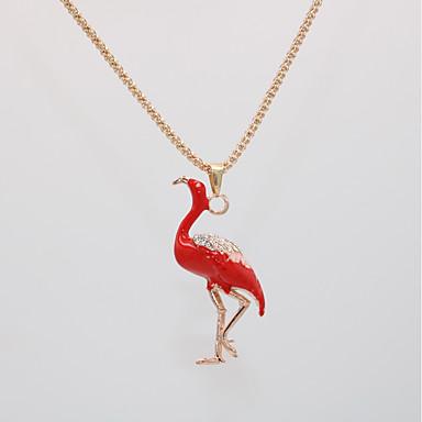 povoljno Modne ogrlice-Žene Ogrlice s privjeskom Ogrlica Duga ogrlica Klasičan Sa životinjama Flamingo Jedinstven dizajn pomodan Moda Moderna Krom Pozlata od crvenog zlata Crvena Rose Gold 70 cm Ogrlice Jewelry 1pc Za Dar