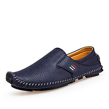 สำหรับผู้ชาย รองเท้าสบาย ๆ PU ฤดูร้อนฤดูใบไม้ผลิ รองเท้าส้นเตี้ยทำมาจากหนังและรองเท้าสวมแบบไม่มีเชือก ระบายอากาศ สีดำ / ขาว / ฟ้า / สำนักงานและอาชีพ