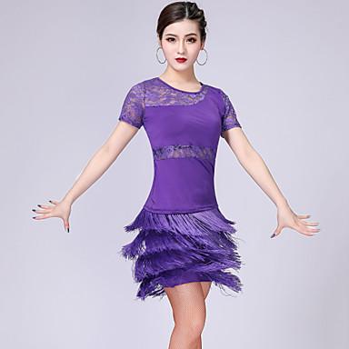 ชุดเต้นละติน Outfits สำหรับผู้หญิง การฝึกอบรม / Performance เส้นใยสังเคราะห์ / สแปนเด็กซ์ ลูกไม้ / พู่ แขนสั้น สูง กระโปรง / Top