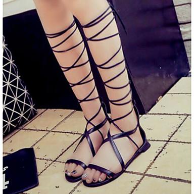 สำหรับผู้หญิง รองเท้าแตะ ส้นแบน PU ฤดูร้อน สีดำ