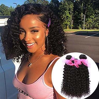 povoljno Ekstenzije od ljudske kose-3 paketa Peruanska kosa Kinky Curly Virgin kosa 100% Remy kose tkanja Bundle Headpiece Ljudske kose plete Bundle kose 8-28 inch Prirodna boja Isprepliće ljudske kose Odor Free Najbolja kvaliteta