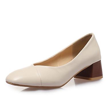 สำหรับผู้หญิง รองเท้าส้นสูง ส้นหนา PU ฤดูใบไม้ผลิ & ฤดูใบไม้ร่วง สีดำ / ขาว / ผ้าขนสัตว์สีธรรมชาติ