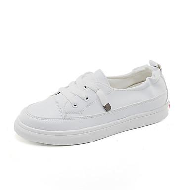 สำหรับผู้หญิง รองเท้าผ้าใบ ส้นแบน ปลายกลม ยาง / ผ้าใบ ไม่เป็นทางการ / Preppy ฤดูร้อนฤดูใบไม้ผลิ สีดำ / ขาว