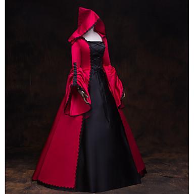 เครื่องแต่งกายในเทพนิยาย Renaissance หนึ่งชิ้น ชุดเดรส Outfits Party Costume Masquerade สำหรับผู้หญิง เครื่องแต่งกาย แดงและดำ Vintage คอสเพลย์ แขนยาว 3/4