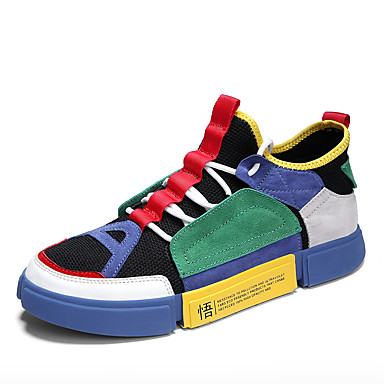 สำหรับผู้ชาย Fashion Boots PU / Tissage Volant ฤดูร้อนฤดูใบไม้ผลิ ไม่เป็นทางการ / Preppy รองเท้าผ้าใบ วสำหรับเดิน ระบายอากาศ รองเท้าบู้ทหุ้มข้อ ลายบล็อคสี ขาว / ฟ้า / สีเทา / กลางแจ้ง / Light Soles