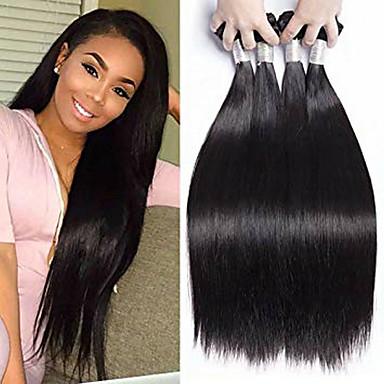 povoljno Ekstenzije od ljudske kose-4 paketića Brazilska kosa Prirodno ravno Remy kosa Ljudske kose plete Produžetak Bundle kose 8-28inch Prirodna boja Isprepliće ljudske kose Cosplay Nježno Ples Proširenja ljudske kose / neprerađenih