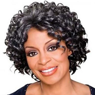 วิกผมสังเคราะห์ Afro Kinky ฟรี Part ผมปลอม Short Gray สังเคราะห์ 12 inch สำหรับผู้หญิง ผู้หญิง สังเคราะห์ การแต่งกายที่ง่าย เทาเข้ม / สำหรับผู้หญิงผิวดำ