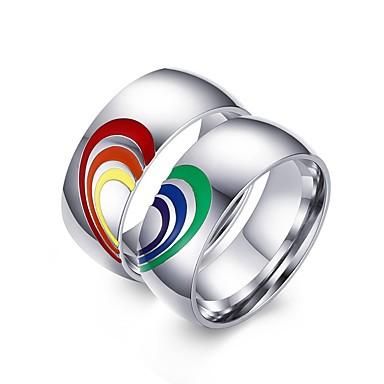 billige Motering-Herre Dame Band Ring 2pcs Sølv Rustfritt Stål Fargerik Bryllup Fest Smykker Regnbue
