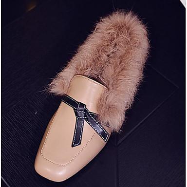 สำหรับผู้หญิง รองเท้าส้นเตี้ยทำมาจากหนังและรองเท้าสวมแบบไม่มีเชือก ส้นแบน หนัง ฤดูหนาว สีดำ / Almond / ทุกวัน