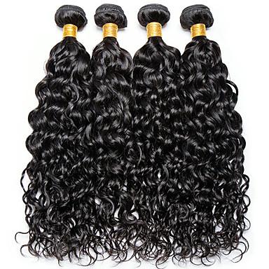 povoljno Ekstenzije od ljudske kose-4 paketića Indijska kosa Water Wave 100% Remy kose tkanja Bundle Ljudske kose plete Bundle kose Jedan Pack Solution 8-28inch Prirodna boja Isprepliće ljudske kose Sladak Modni dizajn Dar Proširenja