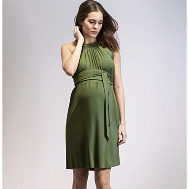 preiswerte Umstandsmode-Damen Schwangerschaft Grundlegend Hülle Kleid Solide Übers Knie