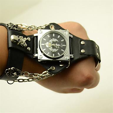 levne Pánské-Pánské hodinky zábalu Křemenný Kůže Černá 30 m Hodinky na běžné nošení Punk Analogové Outdoor Módní - Černá