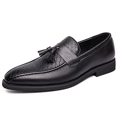 สำหรับผู้ชาย สไตล์อินเดียนแดง Synthetics ฤดูใบไม้ผลิ / ตก ธุรกิจ / ไม่เป็นทางการ รองเท้าส้นเตี้ยทำมาจากหนังและรองเท้าสวมแบบไม่มีเชือก ไม่ลื่นไถล สีดำ / สำนักงานและอาชีพ / รองเท้าขับขี่