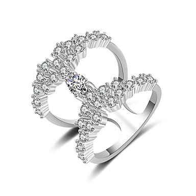 voordelige Dames Sieraden-Dames Ring manchet Ring Zirkonia 1pc Zilver Koper Stijlvol Artistiek Feest Verloving Sieraden X-ring Cool