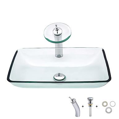 อ่างล้างหน้า / ก๊อกน้ำในห้องน้ำ / Bathroom Mounting Ring ร่วมสมัย - กระจกไม่แตกละเอียด สี่เหลี่ยมผืนผ้า Vessel Sink