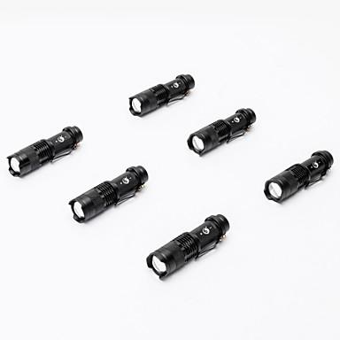 SK68 LED-Ficklampor Vattentät Liten storlek 2000 lm LED LED 1 utsläpps 3 Belysning läge Vattentät Zoombar Justerbar fokus Stöttålig Strike Bezel Klämma Camping / Vandring / Grottkrypning