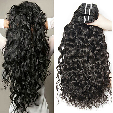 cheap Human Hair Weaves-3 Bundles Hair Weaves Malaysian Hair Water Wave Human Hair Extensions Remy Human Hair 100% Remy Hair Weave Bundles 300 g Natural Color Hair Weaves / Hair Bulk Human Hair Extensions 8-28 inch Natural
