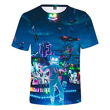 povoljno Odjeća za dječake-Djeca Dječaci Aktivan Print Kratkih rukava Pamuk Majica s kratkim rukavima Plava