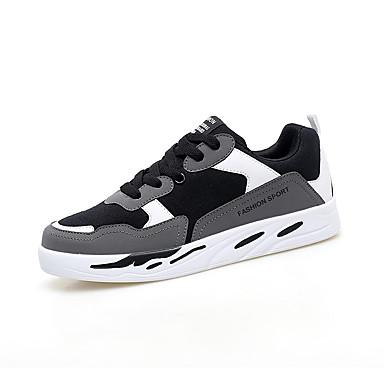 สำหรับผู้หญิง รองเท้าผ้าใบ ส้นแบน ปลายกลม ผ้าใบ ไม่เป็นทางการ วสำหรับเดิน ฤดูร้อนฤดูใบไม้ผลิ สีดำและสีขาว / แดง