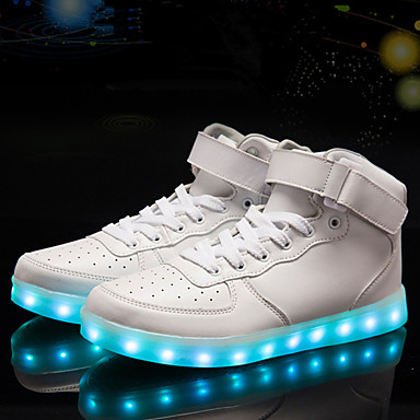 cheap Men's Sneakers-Men's Light Soles Fall & Winter Sporty / LED / Casual Daily Party & Evening Sneakers Walking Shoes PU Waterproof Non-slipping White / Black / Red