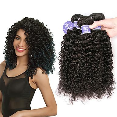 povoljno Ekstenzije od ljudske kose-3 paketa Peruanska kosa Kinky Curly Virgin kosa 100% Remy kose tkanja Bundle Headpiece Ljudske kose plete Bundle kose 8-28 inch Natural Isprepliće ljudske kose Odor Free Elastičan Prirodno Proširenja