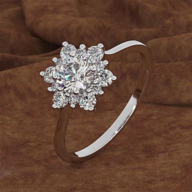 สำหรับผู้หญิง แหวน / แหวนหมั้น Cubic Zirconia 1pc Rose Gold / ขาว / สีทอง ทองชุบ / โลหะผสม หก Prongs ความหรูหรา งานแต่งงาน / การหมั้น เครื่องประดับเครื่องแต่งกาย / Heart / เล่นไพ่คนเดียว