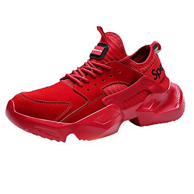 สำหรับผู้ชาย รองเท้าสบาย ๆ PU ฤดูใบไม้ผลิ Sporty รองเท้ากีฬา สำหรับวิ่ง ไม่ลื่นไถล สีดำ / แดง / สีเทา / การกรีฑา