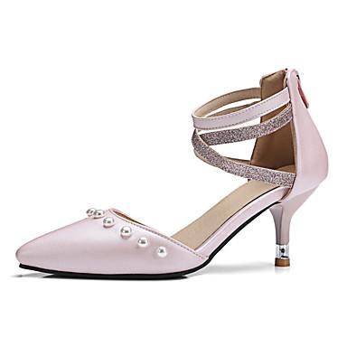 สำหรับผู้หญิง รองเท้าส้นสูง ส้น Stiletto PU ฤดูใบไม้ผลิ & ฤดูใบไม้ร่วง สีดำ / สีชมพู