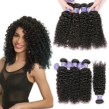 6 กลุ่ม ผมบราซิล Kinky Curly 100% Remy Hair Weave Bundles เครื่องประดับศรีษะ มนุษย์ผมสาน มัดผม 8-28 inch ธรรมชาติ สานเส้นผมมนุษย์ Odor Free Safety ง่ายต่อการพกพา ส่วนขยายของผมมนุษย์