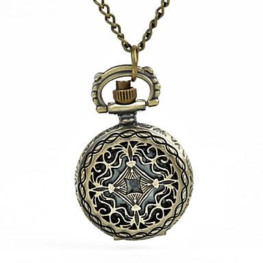 levne Pánské-Pánské Kapesní hodinky Křemenný Brązowy S dutým gravírováním kreativita Analogové Vintage Kostra - Bronzová