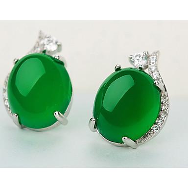 สำหรับผู้หญิง สีเขียว สังเคราะห์มรกต ต่างหูติดหู Emerald Cut วินเทจ หวาน สไตล์น่ารัก S925 เงินสเตอร์ลิง ต่างหู เครื่องประดับ เขียวเข้ม สำหรับ งานแต่งงาน ปาร์ตี้ ทุกวัน 1 คู่