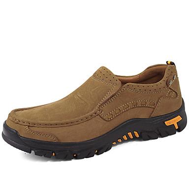 สำหรับผู้ชาย รองเท้าหนัง แน๊บป้า Leather ฤดูใบไม้ผลิ / ตก วินเทจ / ไม่เป็นทางการ รองเท้าส้นเตี้ยทำมาจากหนังและรองเท้าสวมแบบไม่มีเชือก ไม่ลื่นไถล สีดำ / สีน้ำตาล / สีกากี / กลางแจ้ง / สไตล์อินเดียนแดง