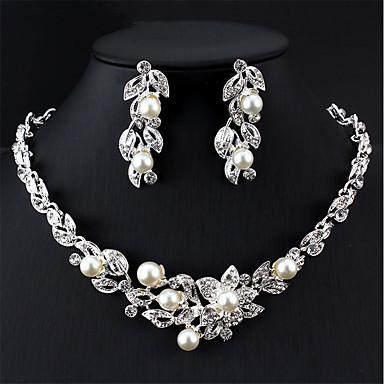 levne Dámské šperky-Dámské Bílá Svatební šperky Soupravy Klasika Kytky Klasické Elegantní Pro nevěstu Napodobenina perel Náušnice Šperky Stříbrná Pro Svatební Párty Zásnuby Dar 1 sada