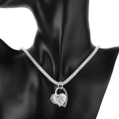 cheap Necklaces-Women's Pendant Necklace Heart Love Hollow Heart Ladies Bridal Italian everyday Sterling Silver Silver Necklace Jewelry 1pc For Wedding Party Anniversary Birthday Daily Casual