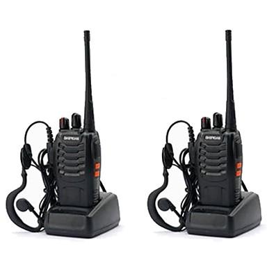 voordelige Walkie-talkies-2 stks baofeng bf-888s oplaadbare lange afstand 5 w twee manier radio walkie talkies 16 kanaals handheld radio ingebouwde led zaklamp + headset handheld draagbare uhf400-470 mhz
