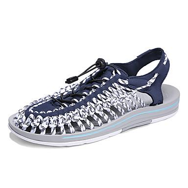 สำหรับผู้ชาย รองเท้าสวม ผ้ายืดหยุ่น ฤดูร้อน ไม่เป็นทางการ รองเท้าแตะ ระบายอากาศ สีดำ / Drak Red / น้ำเงินเข้ม
