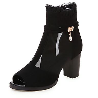 สำหรับผู้หญิง รองเท้าแตะ ส้นหนา ที่สวมนิ้วเท้า หนังเทียม ฤดูร้อนฤดูใบไม้ผลิ สีดำ