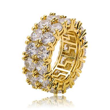 สำหรับผู้ชาย แหวน Cubic Zirconia 1pc สีทอง สีเงิน ทองแดง รอบ Stylish ฮิปฮอป ปาร์ตี้ ทุกวัน เครื่องประดับ คลาสสิค เท่ห์