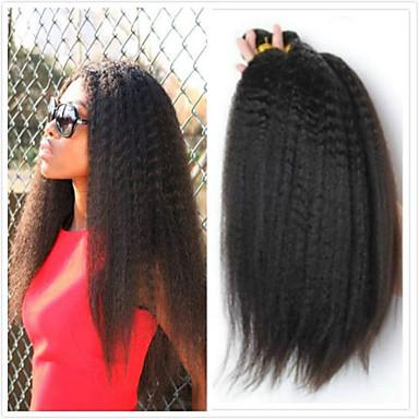 povoljno Ekstenzije od ljudske kose-4 paketića Brazilska kosa Kinky Ravno 100% Remy kose tkanja Bundle Ljudske kose plete Bundle kose Jedan Pack Solution 8-28inch Prirodna boja Isprepliće ljudske kose Sladak Sigurnost Slatko Proširenja