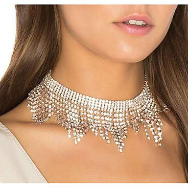levne Dámské šperky-Dámské Obojkové náhrdelníky Třásně Luxus Pro nevěstu Umělé diamanty Stříbrná 30 cm Náhrdelníky Šperky 1ks Pro Svatební Klub