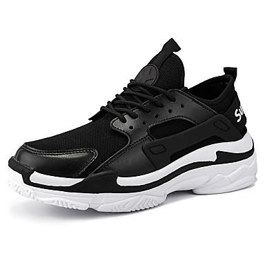 สำหรับผู้ชาย Light Soles PU / Tissage Volant ฤดูร้อนฤดูใบไม้ผลิ Sporty / คลาสสิก รองเท้ากีฬา สำหรับวิ่ง ระบายอากาศ สีดำ / ขาว / แดง / ไม่ลื่นไถล / สวมหลักฐาน