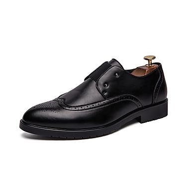 สำหรับผู้ชาย รองเท้าสบาย ๆ หนังเทียม ฤดูร้อนฤดูใบไม้ผลิ ไม่เป็นทางการ / อังกฤษ รองเท้า Oxfords ระบายอากาศ สีดำ / สีน้ำตาล / ขาว / พู่ / พรรคและเย็น / พู่ / พรรคและเย็น