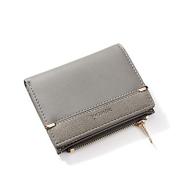 สำหรับผู้หญิง ซิป PU กระเป๋าเงิน ลายบล็อคสี สีดำ / สีแดงชมพู / Almond