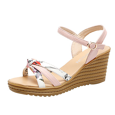 สำหรับผู้หญิง รองเท้าแตะ รองเท้าส้นตึก PU ไม่เป็นทางการ ฤดูร้อน ขาว / สีชมพู
