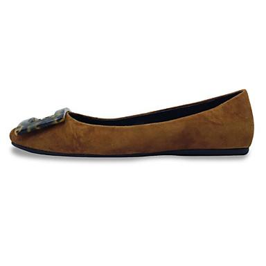 สำหรับผู้หญิง รองเท้าส้นเตี้ย ส้นแบน หัวเข็มขัด หนังนิ่ม / หนัง ฤดูใบไม้ผลิ สีดำ / สีเขียว / Marron