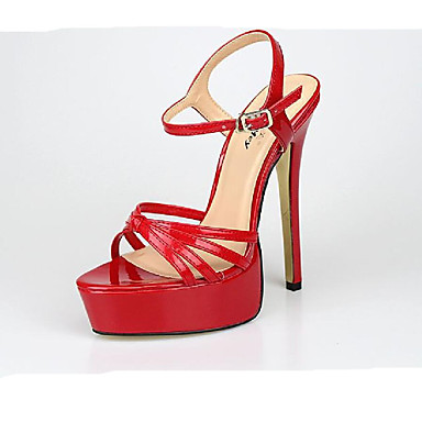 สำหรับผู้หญิง รองเท้าแตะ ส้น Stiletto เปิดนิ้ว หัวเข็มขัด PU คลาสสิก ฤดูร้อน สีดำ / ขาว / แดง / พรรคและเย็น / พรรคและเย็น