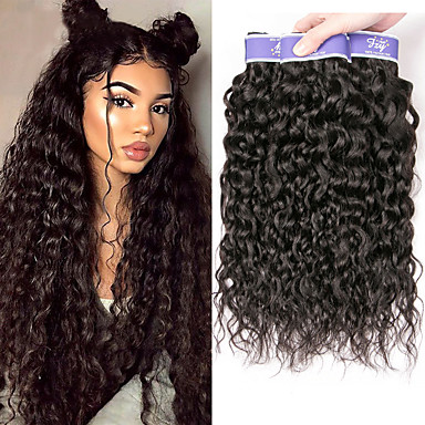 cheap Hair Extensions-3 Bundles Brazilian Hair Water Wave Remy Human Hair 100% Remy Hair Weave Bundles 300 g Natural Color Hair Weaves / Hair Bulk Human Hair Extensions 8-28 inch Natural Color Natural Black Human Hair