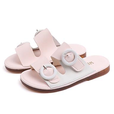 เด็กผู้หญิง เท้าไฟ PU รองเท้าแตะและรองเท้าแตะ เด็กวัยหัดเดิน (9m-4ys) / เด็กน้อย (4-7ys) วสำหรับเดิน สีดำ / สีชมพู ฤดูร้อน / ยาง